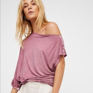NWT Free People Mauve Sundial Tee Off the Shoulder
